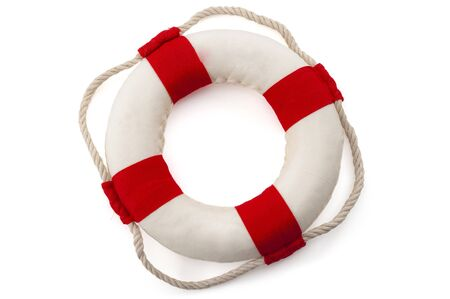 Assistance to survive, bailout, life rescue equipment and survival gear concept with lifebuoy isolated on white background with clipping path cutout