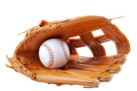 America s pastime, sporting equipment and american sports concept with a new generic baseball glove and holding a ball isolated on white background with a clip path cutout Standard-Bild