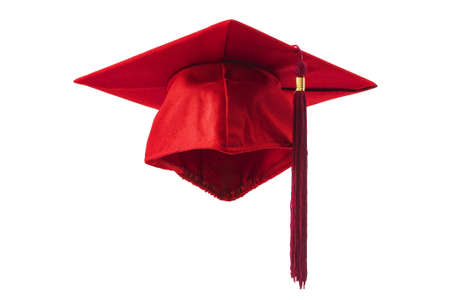 Academic achievement and celebrating higher education success conceptual idea with red mortarboard graduation cap with clipping path cutout in ghost mannequin technique isolated on white background Stockfoto