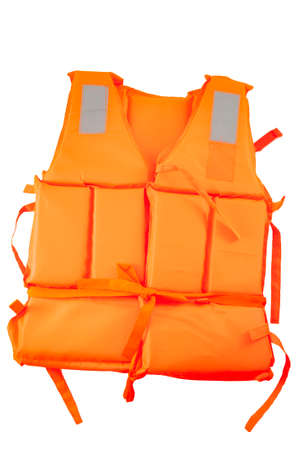Maritime safety equipment, floatation device and water activities concept with an orange life jacket isolated on white background with a clip path cut out Stockfoto