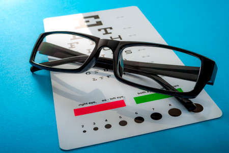 Ophthalmological exam, healthy eyes and ophthalmology concept with a pair of vision glasses and an eye chart isolated on blue background