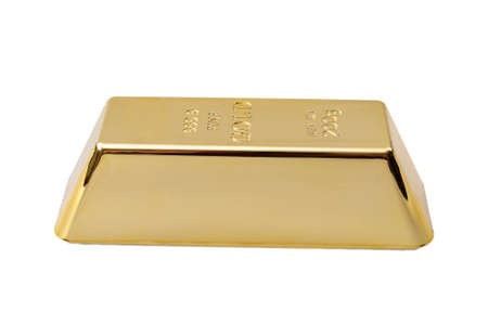 The basis of banking system, precious rare metal and safe financial investment concept with solid golden bar or gold bullion Isolated on white background with clipping path cutout
