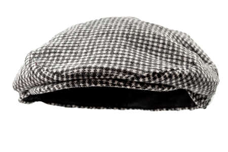 Floating grey hunting tweed flat cap or newsboy cap isolated on white background Stockfoto