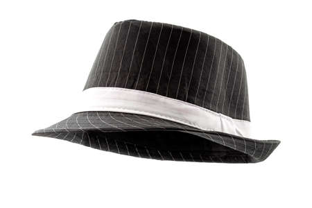 Chic hats and formal attire concept black pinstripe fedora hat isolated on white background Stockfoto