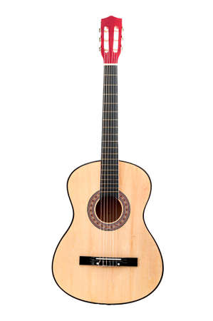 Musical instruments, artistic hobbies and love for music concept theme with a classical acoustic guitar isolated on withe background with clip path cutout