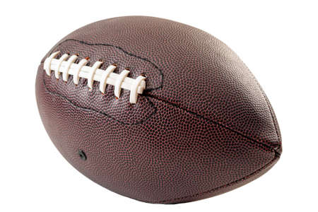 American football and US sports concept with a generic leather ball without any brands on it and visible laces isolated on white with a clip path cutout