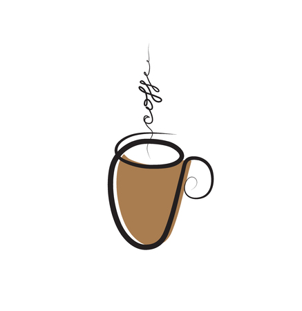 Cup of coffee drawing. Coffee and cafe icon. Vector clipart illustration. Illustration