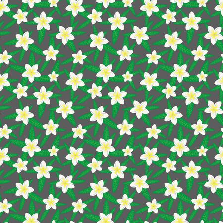 Floral seamless pattern. Hawaiian plumeria flower and leaves seamless pattern. Floral print. Dark background. Print for textile or web . Banco de Imagens