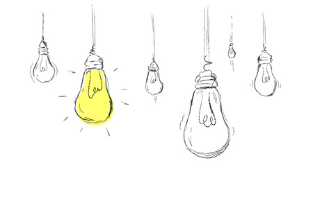 One different from others light bulb representing best and different idea that works. Vector drawing illustration