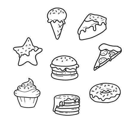 Party junk food lines cute drawing: pizza, cupcake, ice cream, gingerbread, burger, pancakes, donut cake Vector isolated