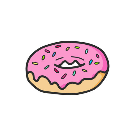 Cute pink donut glaze drawing. Vector isolated. Illustration