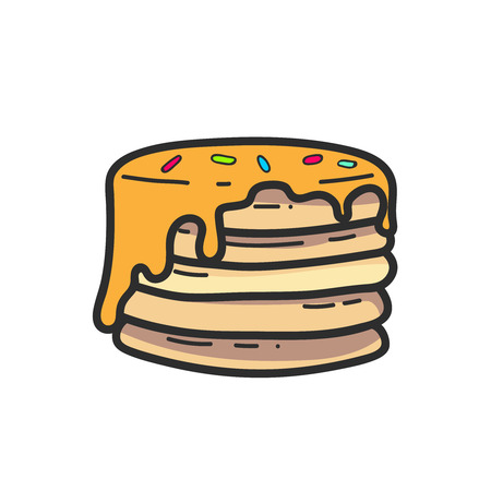 Cute panckaes with syrup drawing. Vector isolated. Illustration