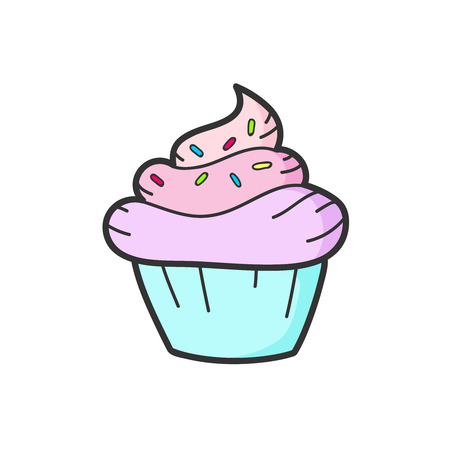 Cute pink cupcake drawing. Vector isolated. Illustration
