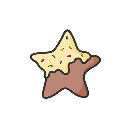 Cute gingerbread star drawing. Vector isolated. Illustration