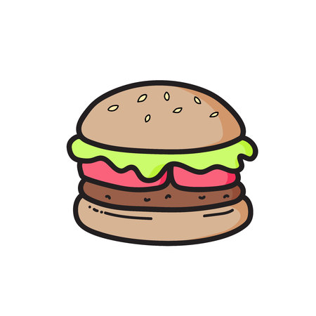 Cute cheeseburger drawing. Vector isolated Illustration Illustration