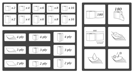 Toilet paper parameters icons and symbols set. Vector illustration pack