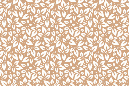 Floral seamless pattern. Vector. Leaves Beige and white ornament Illustration