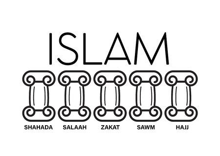 5 Säulen des Islam. Kinder pädagogischer Illustrationsvektor unter Säulenwörtern Hadsch, Glaube, Gebet, Pilgerfahrt, Fasten