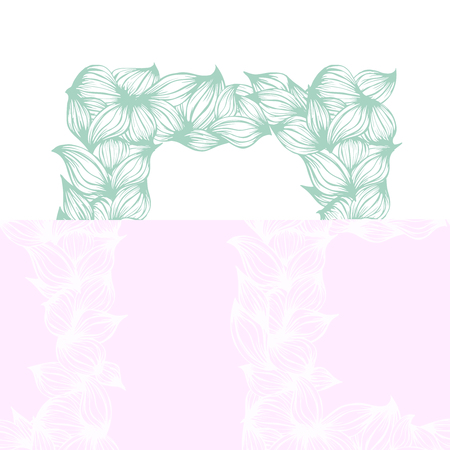 Floral template frame. Mint green leaves beautiful frame. Vector illustration Illustration