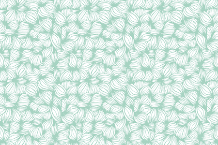 Floral seamless beautiful pattern. Vector. Leaves mint green and white ornament