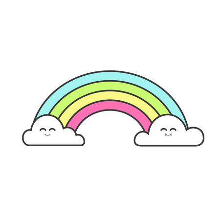 Cute rainbow kids colorful illustration. Vector isolated.