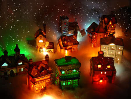 miniature people: Christmas Village Miniature Houses
