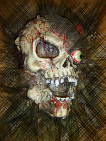 decompose:  Fake Skull with red light for special effect Stock Photo