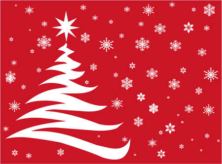 Christmas tree and snowflakes on red background 版權商用圖片