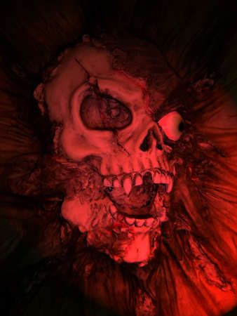 body and blood:  Fake Skull with red light for special effect Stock Photo