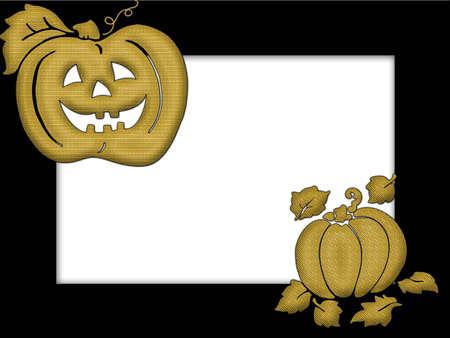 Golden pumpkin on black frame Stock Photo - 550446