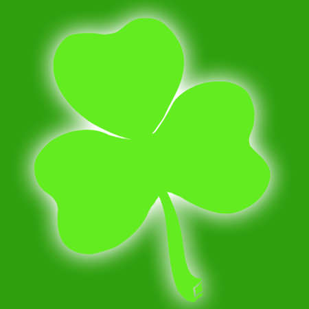 Green shamrock on green background Stock Photo - 815679