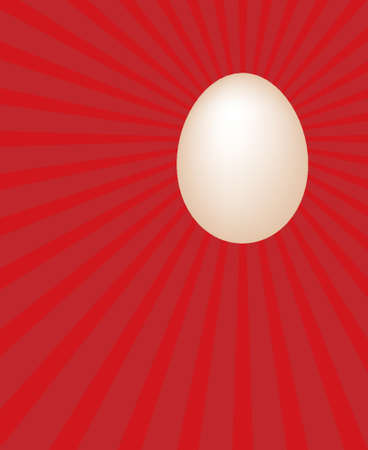 beginnings: Egg on ray red background. (The beginning abstract) Illustration