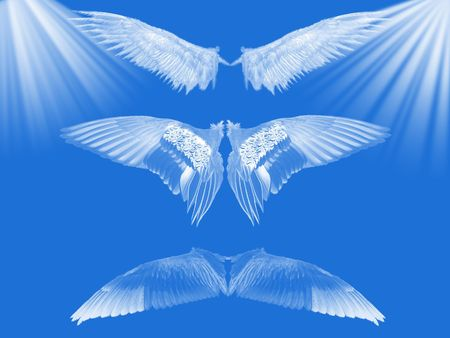 Wings on blue background with white ray of light. 版權商用圖片