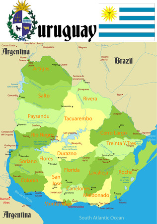 Uruguay with flag and coat of arm, Names of cities and rivers. 向量圖像