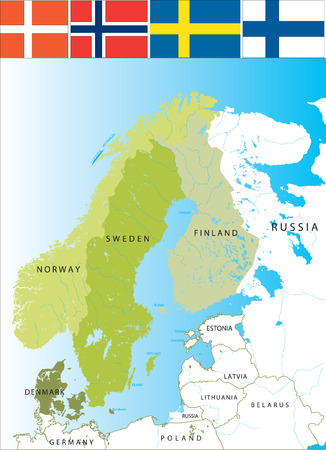 Nordic countries of Scandinavies.Scandinavian Peninsula.
