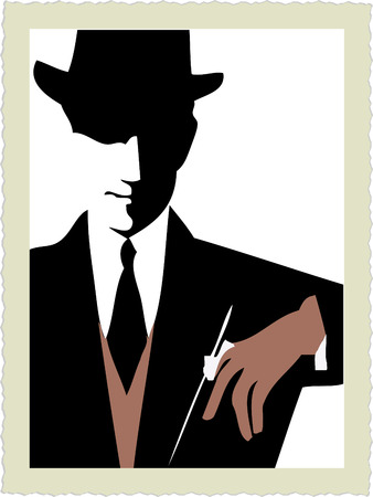 Dandy silhouette. Stock Illustratie