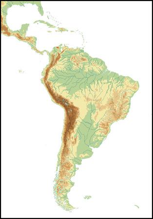 Reliëf van Zuid-Amerika.