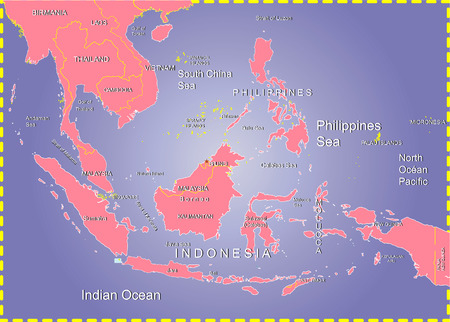 フィリピン海とインドネシアの地図。
