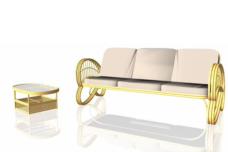 Relax sofa in rattan with table.