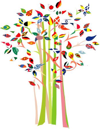 Boom met verschillende vlaggen op tak. Stock Illustratie