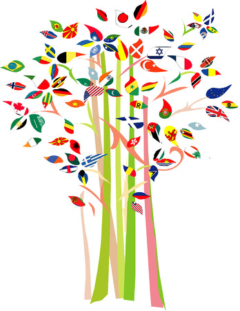 Tree with various flags on branch. 版權商用圖片 - 3861263