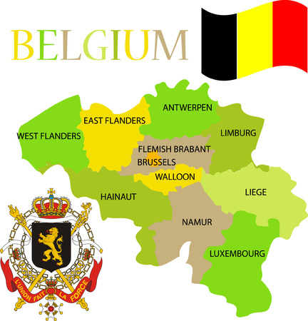 Map of Belgium with its provinces. Flag and coat of arm.