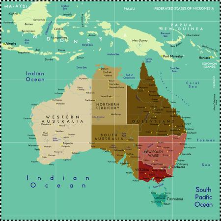 オーストラリアの地図。