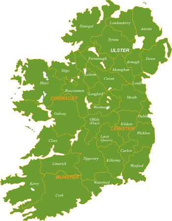 Map of the whole Ireland isolated on white background. Illustration