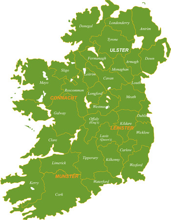 Map of the whole Ireland isolated on white background. Vectores