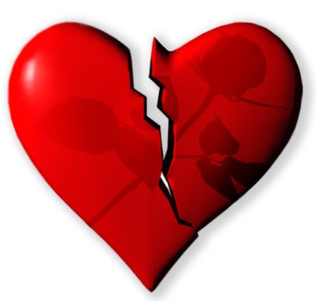 Broken heart with shadow of rose