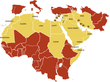 Middle East map with various countries.