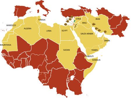 Midden-Oosten kaart met diverse landen. Stock Illustratie