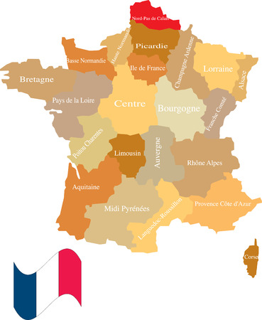 France and its areas. Separate and use any areas as you wish. Vectores
