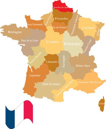 Frankrijk en de gebieden. Scheiden en gebruik eventueel terreinen als u dat wenst. Stock Illustratie